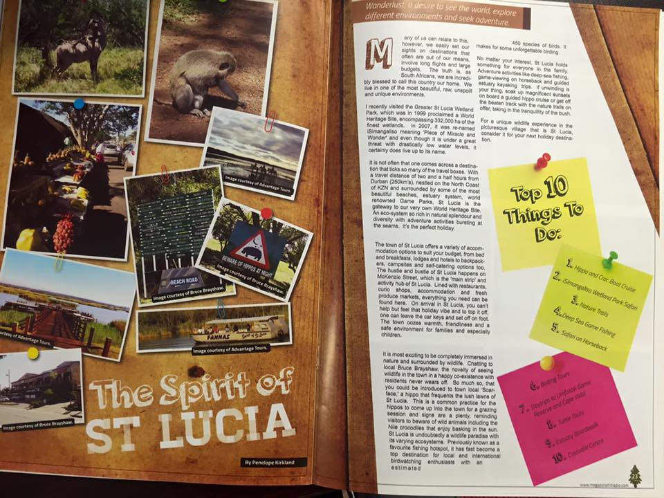 My published travel piece for an Umhlanga magazine